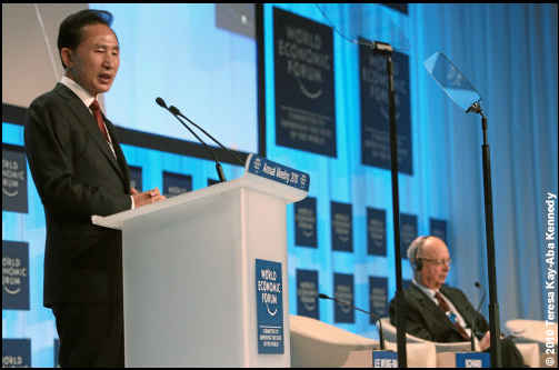President Lee Myung-Bak of the Republic of Korea and Professor Klaus Schwab at the World Economic Forum Annual Meeting in Davos, Switzerland - January 2010