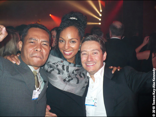 Silverius Unggul, Teresa Kay-Aba Kennedy and Francois-Philippe Champagne at the World Economic Forum in Davos, Switzerland - January 2010