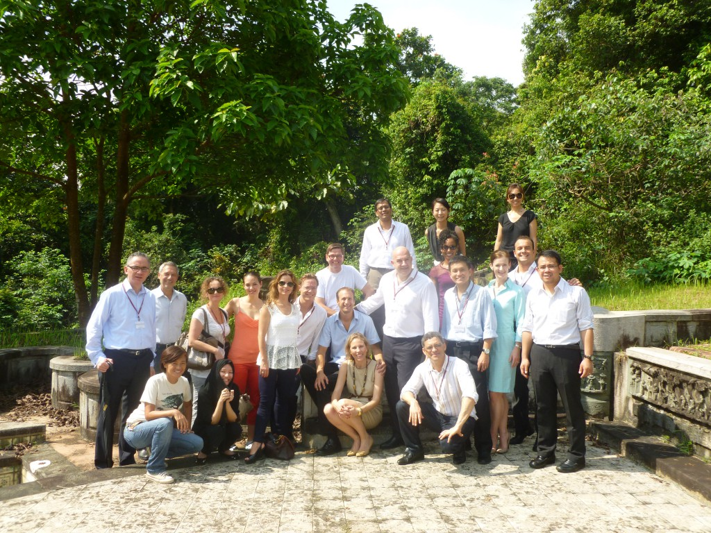 Teresa Kay-Aba Kennedy with fellow World Economic Forum Young Global Leaders at Bukit Brown Cemetery in Singapore - October 2012