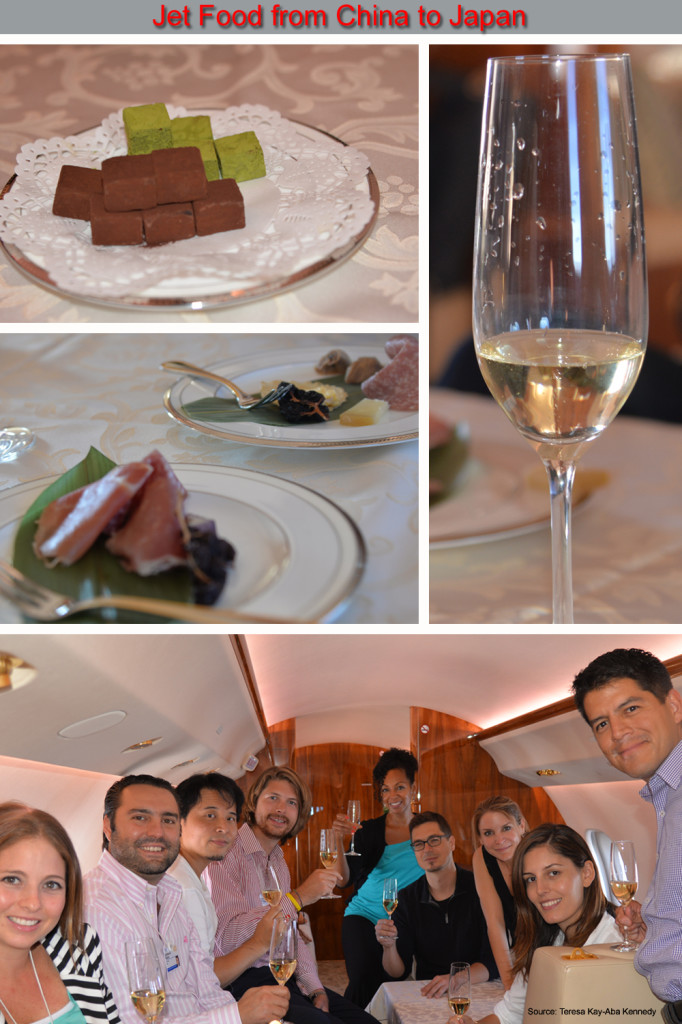 Teresa Kay-Aba Kennedy on a private jet ride from China to Japan after the Young Global Leaders Summit in Beijing, China - September 2014