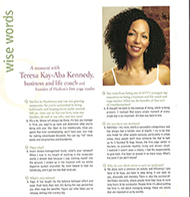 Teresa Kay-Aba Kennedy featured in Delicious Living magazine