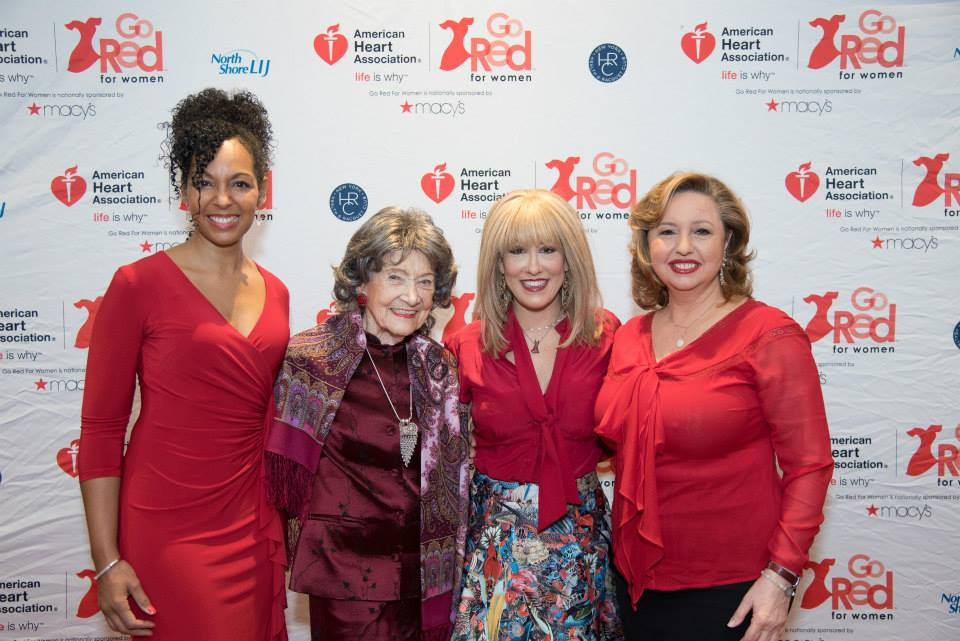 Teresa Kay-Aba Kennedy, 96-year-old Yoga Master Tao Porchon-Lynch, Dr. Suzanne Steinbaum, Agapi Stassinopoulos at the American Heart Association Go Red Luncheon at the NY Hilton Midtown - March 3, 2015