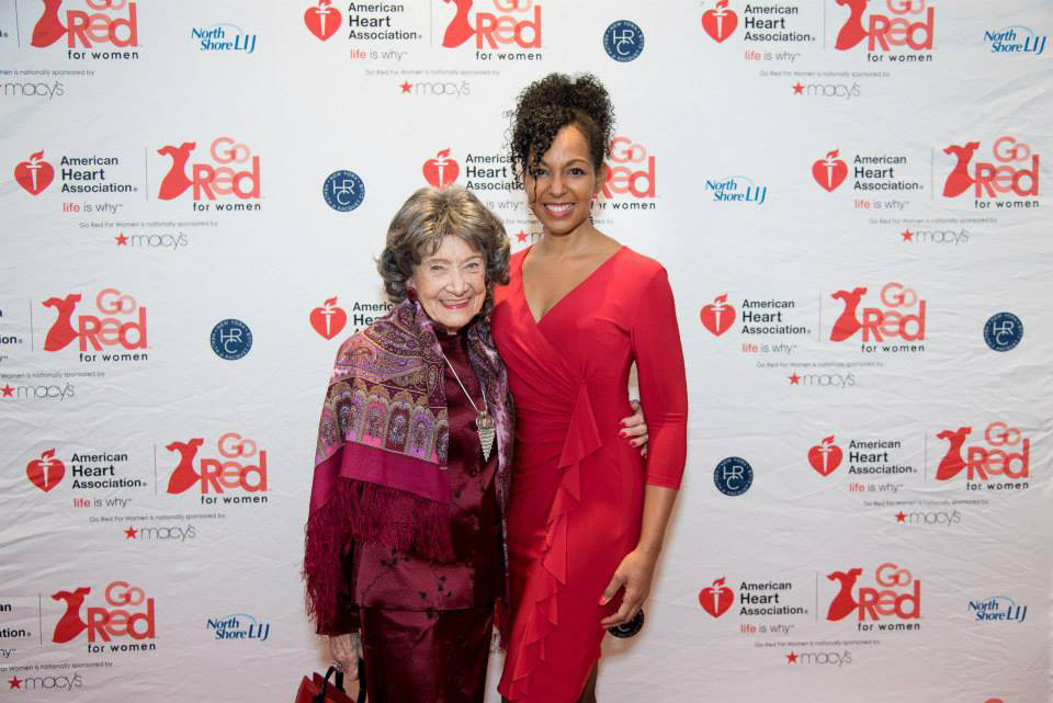 96-year-old Yoga Master Tao Porchon-Lynch and Teresa Kay-Aba Kennedy at the American Heart Association Go Red Luncheon at the NY Hilton Midtown - March 3, 2015