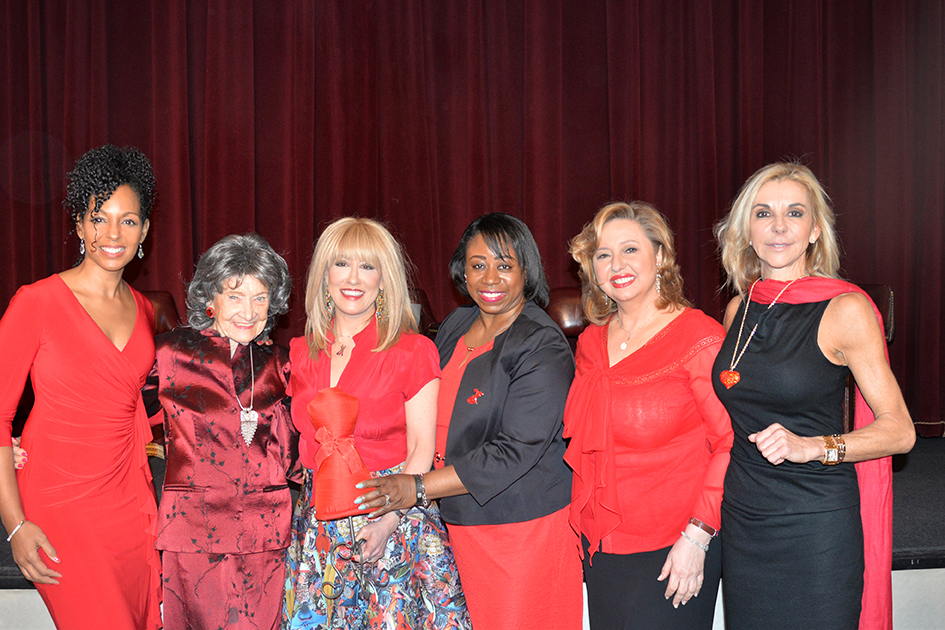 Teresa Kay-Aba Kennedy, 96-year-old Tao Porchon-Lynch, Dr. Suzanne Steinbaum, Dr. Icilma Fergus, Agapi Stassinopoulos, MaryAnn Browning at the American Heart Association Go Red Luncheon at the NY Hilton Midtown - March 3, 2015