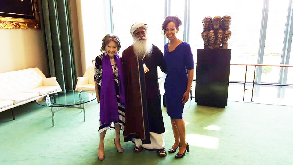 97-year-old yoga master Tao Porchon-Lynch, Teresa Kay-Aba Kennedy and Sadhguru Jaggi Vasudev and Teresa Kay-Aba Kennedy at United Nations International Yoga Day event – June 20, 2016