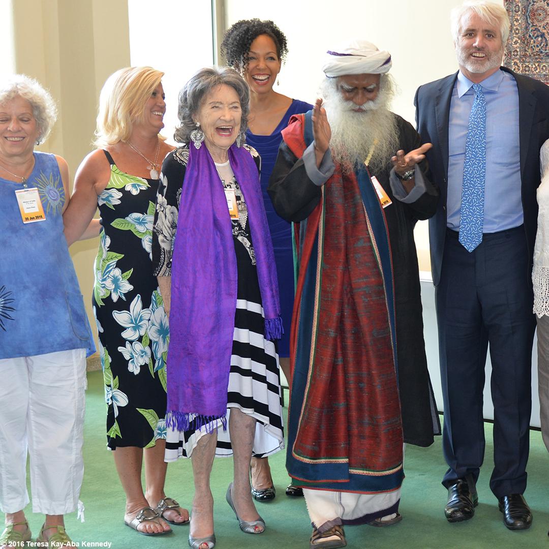 Joyce Pines, Gretchen Robinson, 97-year-old yoga master Tao Porchon-Lynch, Teresa Kay-Aba Kennedy, Sadhguru Jaggi Vasudev and Max Kennedy at the United Nations for International Yoga Day – June 20, 2016