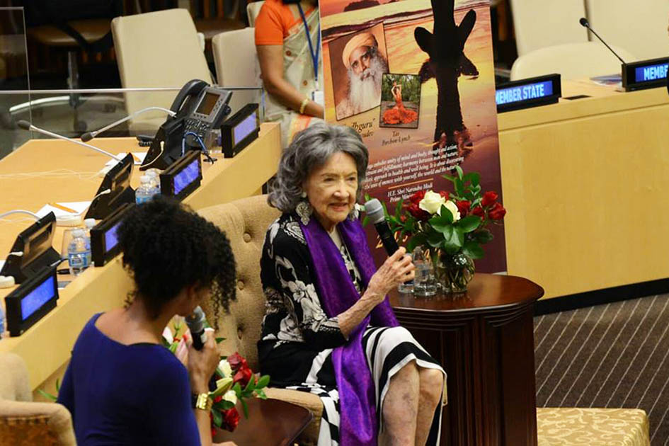 Teresa Kay-Aba Kennedy and 97-year-old yoga master Tao Porchon-Lynch at United Nations International Yoga Day event – June 20, 2016