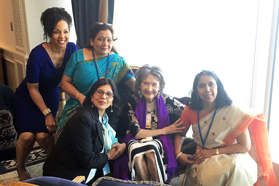 97-year-old yoga master Tao Porchon-Lynch and Teresa Kay-Aba Kennedy with team from Indian Mission at United Nations International Yoga Day event – June 20, 2016