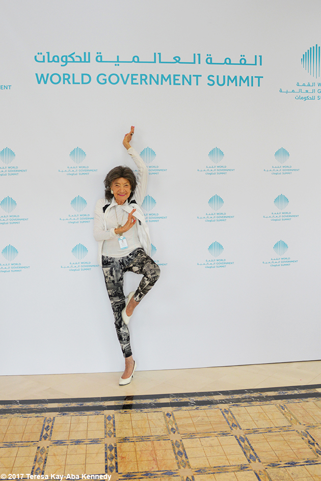 98-year-old yoga master Tao Porchon-Lynch at the World Government Summit in Dubai - February 2017