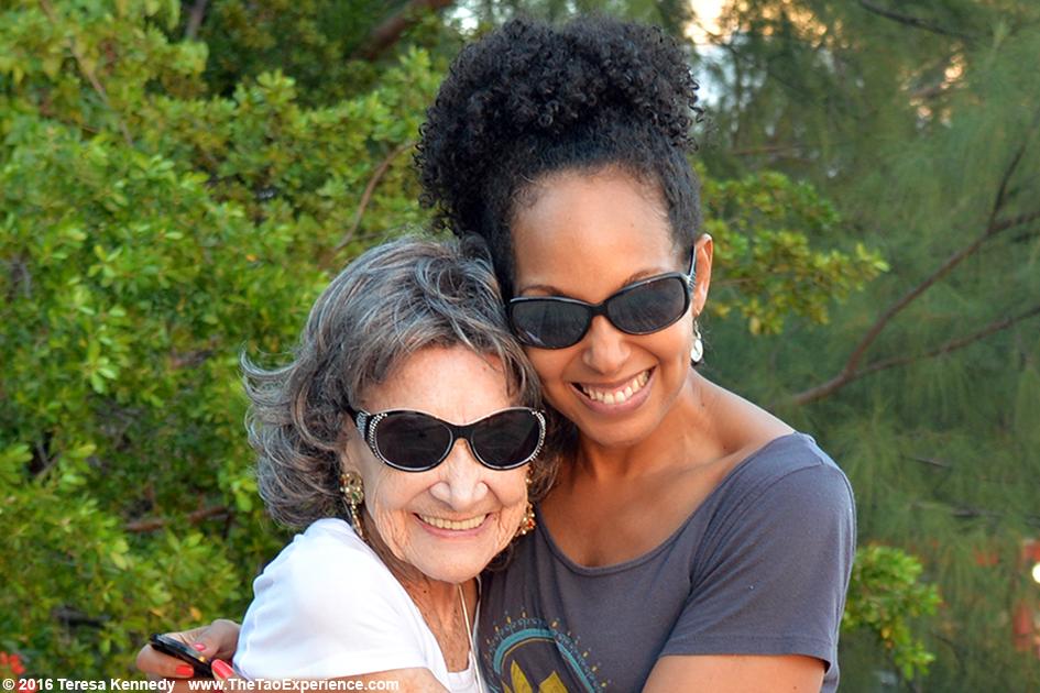 97-year-old Yoga Master Tao Porchon-Lynch and Teresa Kay-Aba Kennedy at Sivananda Ashram Yoga Retreat Bahamas – January 10, 2016