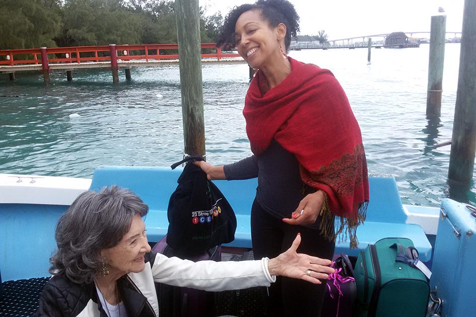 97-year-old Yoga Master Tao Porchon-Lynch leaving Sivananda Ashram Yoga Retreat Bahamas – January 12, 2016