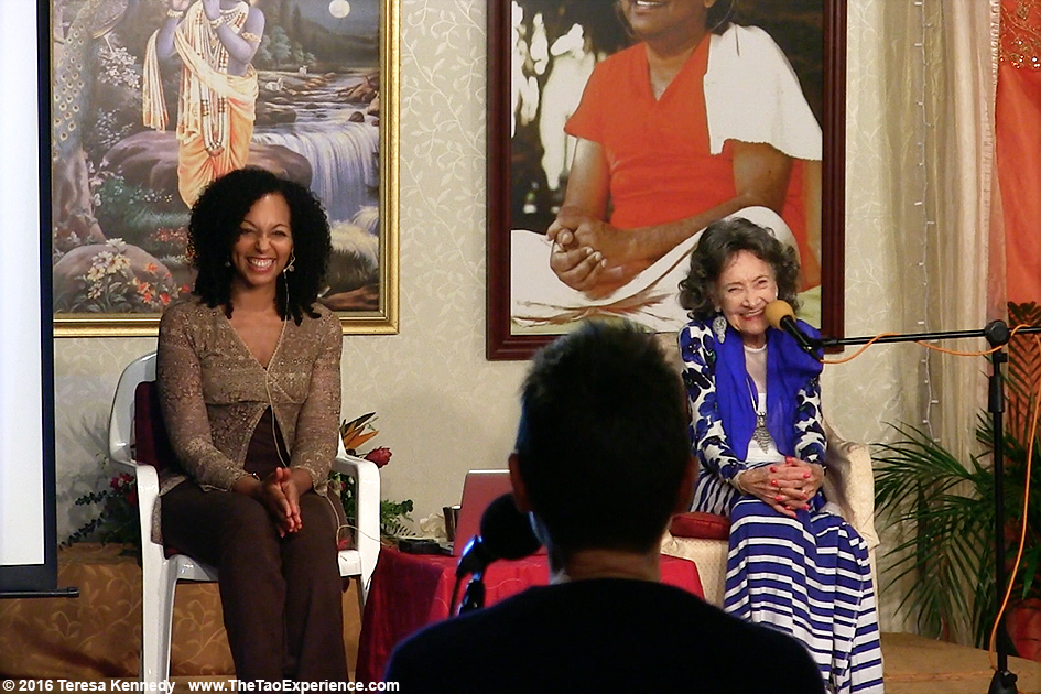 Teresa Kay-Aba Kennedy moderating Conversation with a Master with 97-year-old yoga master Tao Porchon-Lynch at Sivananda Ashram Yoga Retreat Bahamas – January 8, 2016
