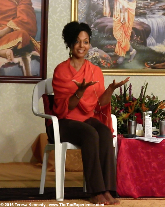 Teresa Kay-Aba Kennedy moderating Conversation with a Master with 97-year-old Yoga Master Tao Porchon-Lynch at Sivananda Ashram Yoga Retreat Bahamas – January 9, 2016