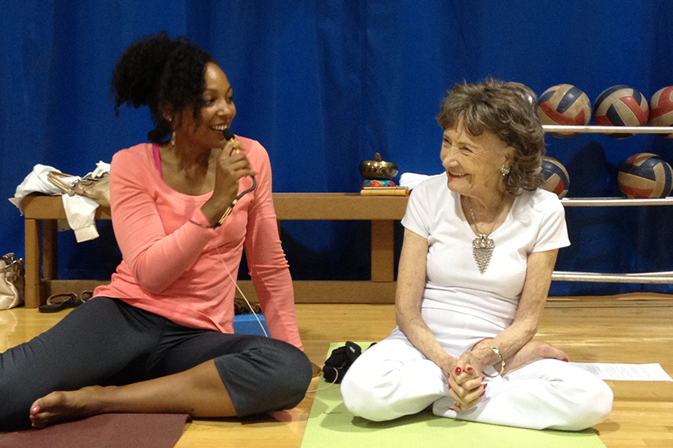 Teresa Kay-Aba Kennedy moderating a Conversation with a Master with 93-year-old yoga master Tao Porchon-Lynch at the Pentagon - June 8, 2012