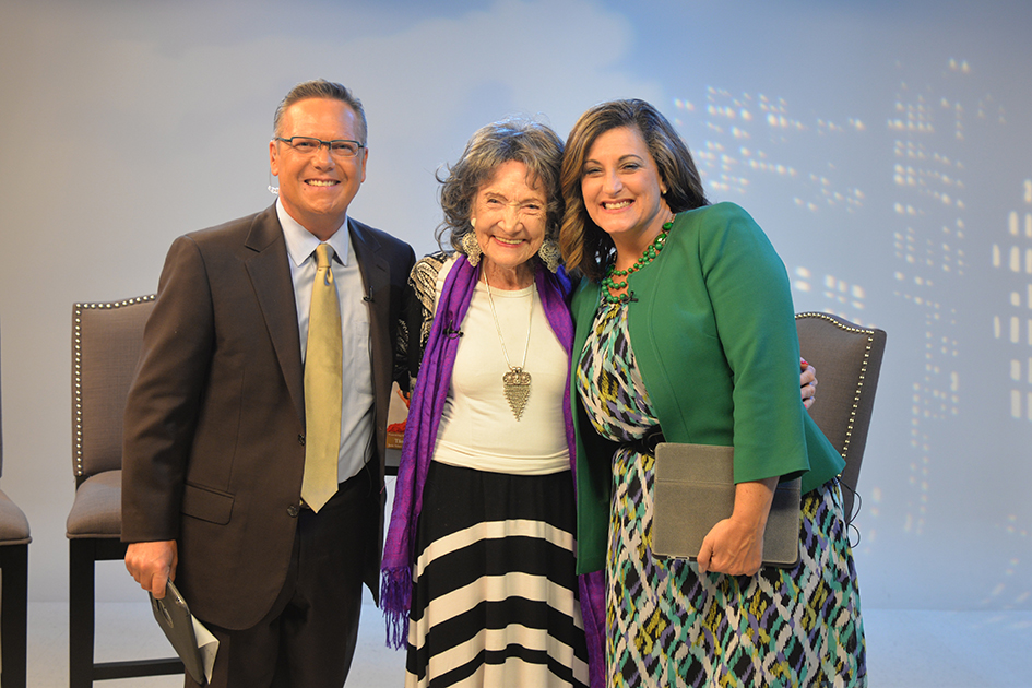 Nick Vasos, 97-year-old yoga master Tao Porchon-Lynch and Kim Byrnes at Fox 4 News in Kansas City - August 27, 2015