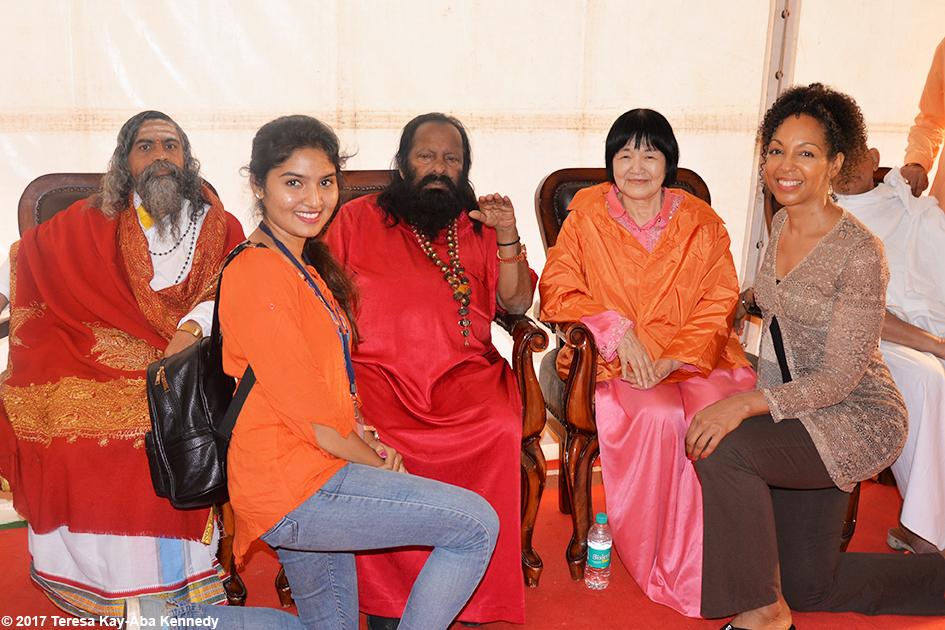 Nimma Seenu, Pilot Baba, Yogmata Keiko Aikawa, and Teresa Kay-Aba Kennedy in the VIP tent at International Day of Yoga in Bangalore, India - June 21, 2017