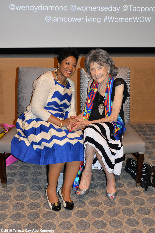 Cindy Pace and 97-year-old yoga master Tao Porchon-Lynch at the Core Club in New York – July 20, 2016