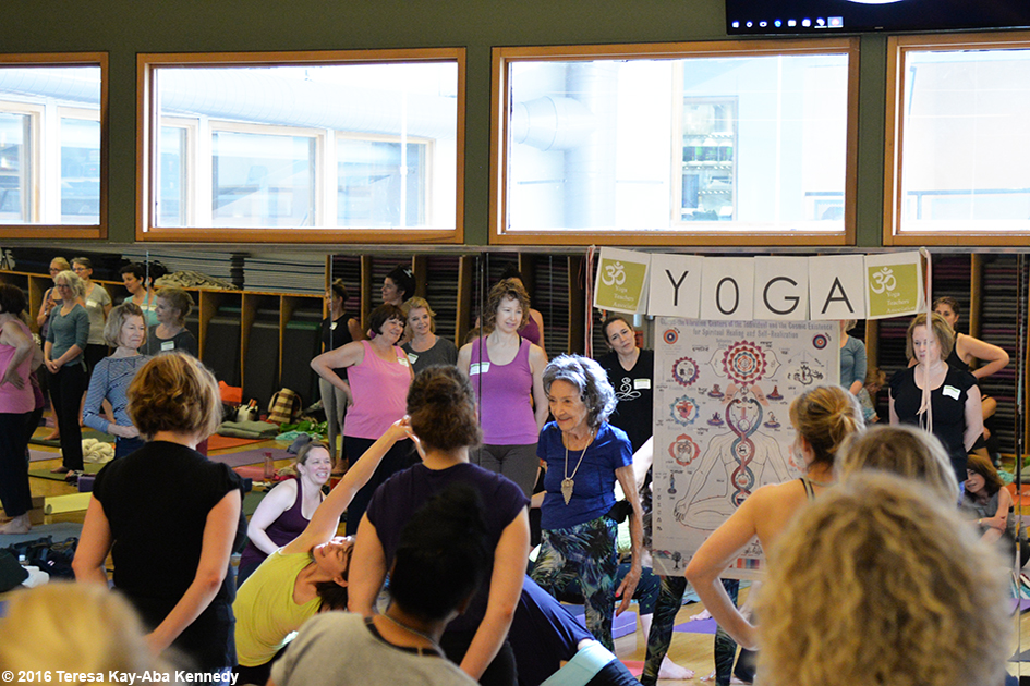 97-year-old yoga master Tao Porchon-Lynch teaching yoga at ClubFit in Briarcliff Manor, NY – June 11, 2016
