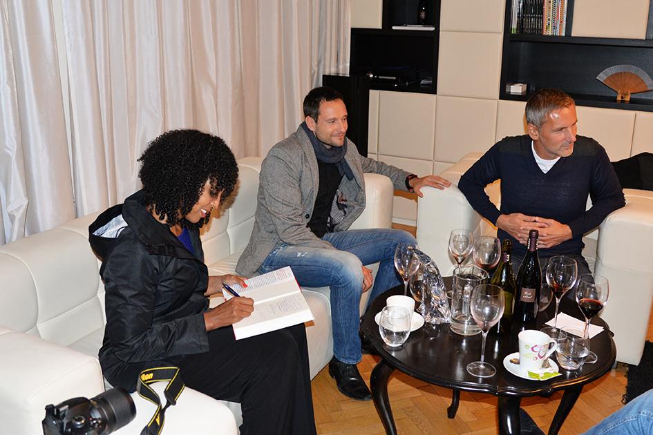 Teresa Kay-Aba Kennedy, Jan Pinteric and Matej Cer at the Young Executives Society (YES) office in Slovenia's capital city of Ljubljana, October 6, 2015