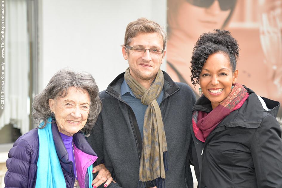 97-year-old yoga master Tao Porchon-Lynch with Teresa Kay-Aba Kennedy and Sebastjan Mislej in Slovenia, October 8, 2015