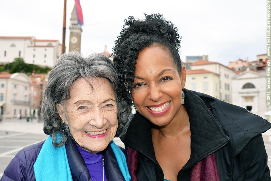 97-year-old yoga master Tao Porchon-Lynch and Teresa Kay-Aba Kennedy in Slovenia, October 8, 2015