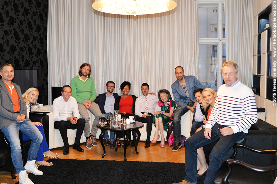 97-year-old yoga master Tao Porchon-Lynch and Teresa Kay-Aba Kennedy at YES (Young Executives Society) office with Anton Majhen and group of entrepreneurs in Slovenia's capital city of Ljubljana, October 7, 2015