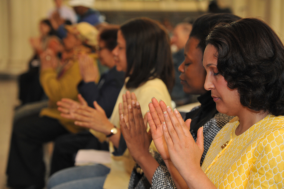 Audience meditating at the 1st Annual Holistic Wellness Expo at The City College of New York - April 28, 2012
