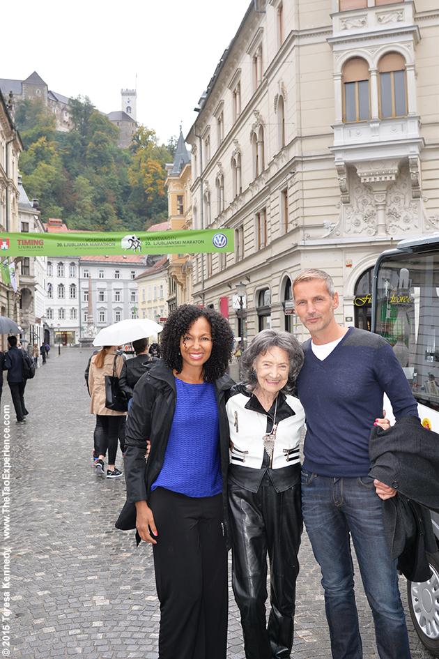 97-year-old Tao Porchon-Lynch, Teresa Kay-Aba Kennedy and Matej Cer in Slovenia's capital city of Ljubljana, October 6, 2015