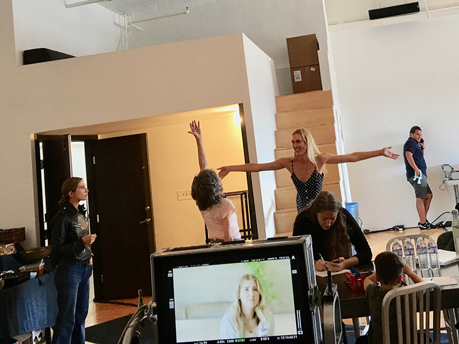 Behind-the-scenes at Athleta shoot with 98-year-old yoga master Tao Porchon-Lynch and Teresa Kay-Aba Kennedy in Los Angeles, CA – October 2016