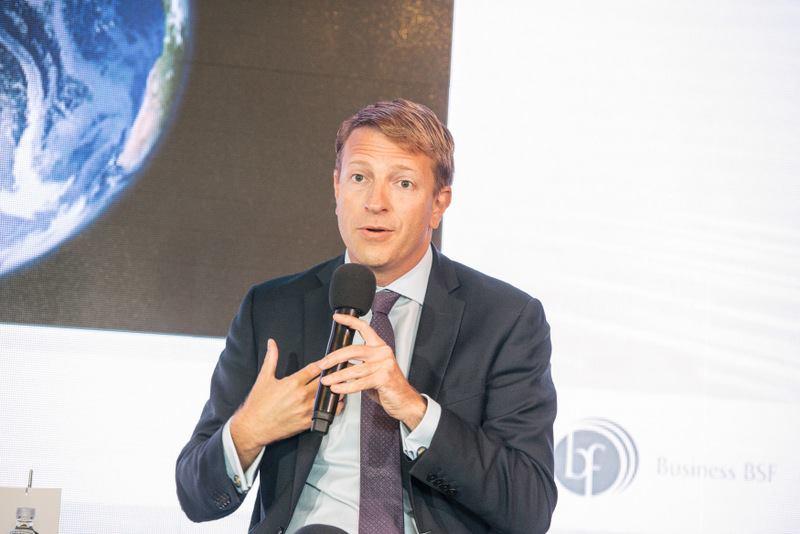Mark Vlasic speaking at the AmCham Business Breakfast at the Bled Strategic Forum in Slovenia - September 5, 2017