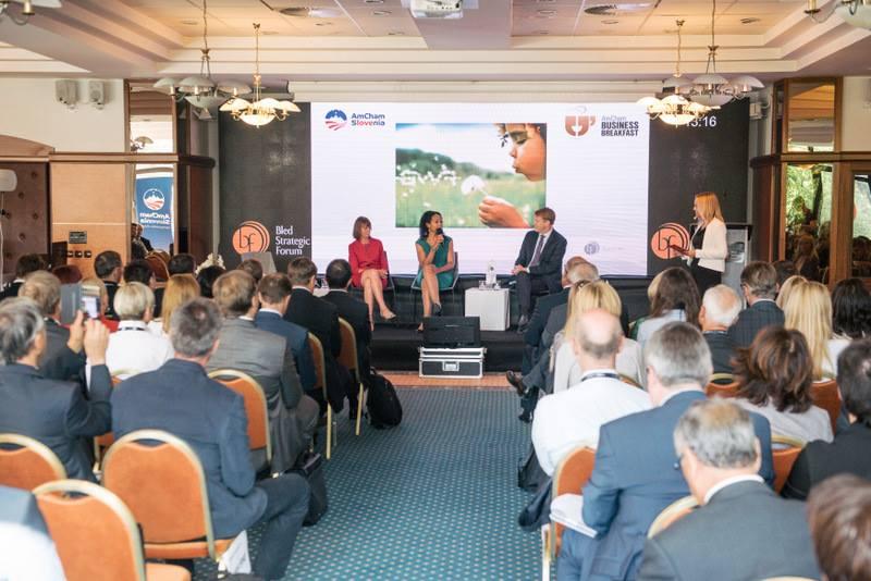Teresa Kay-Aba Kennedy speaking on the AmCham Business Breakfast at the Bled Strategic Forum in Slovenia - September 5, 2017