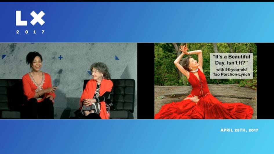 Teresa Kay-Aba Kennedy moderating talk with 98-year-old yoga master Tao Porchon-Lynch at the LX Conference in San Francisco – April 25, 2017