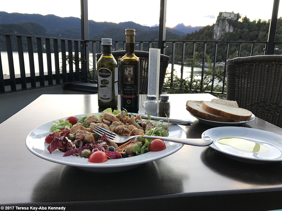 Dinner and view from rooftop of Hotel Park in Bled, Slovenia - September 3, 2017