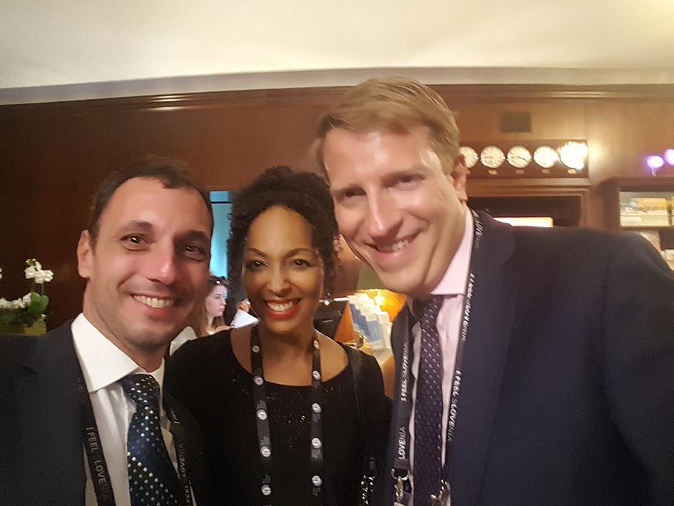 Til Lajovic, Teresa Kay-Aba Kennedy and Mark V. Vlasic at the Bled Strategic Forum in Slovenia - September 5, 2017