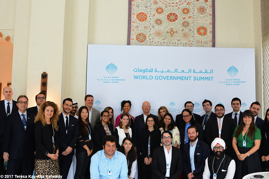 Teresa Kay-Aba Kennedy with fellow Young Global Leaders and Professor Klaus Schwab at Mina A' Salam in Dubai for World Government Summit – February 13, 2017