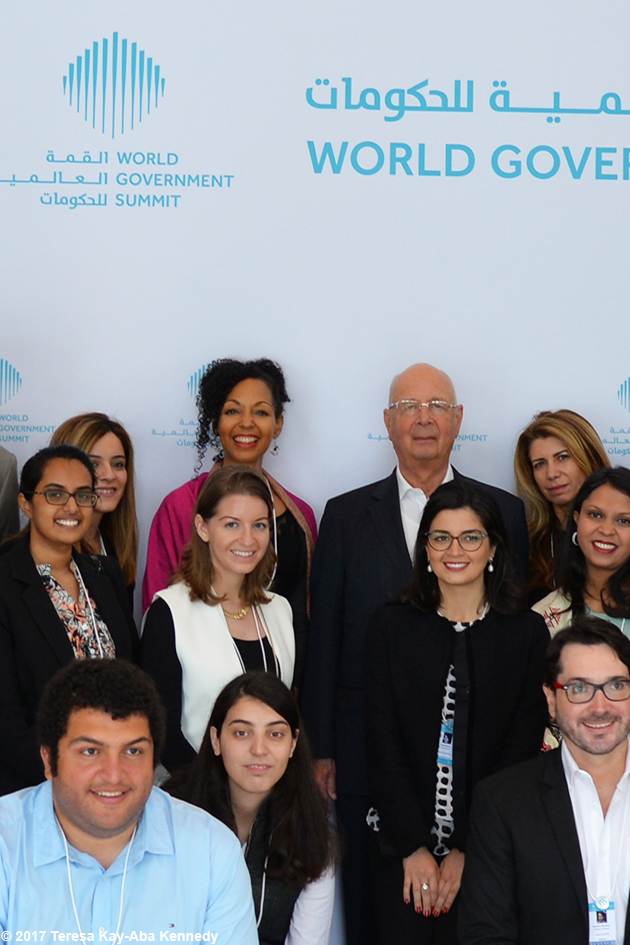 Teresa Kay-Aba Kennedy with Professor Klaus Schwab and fellow World Economic Forum Young Global Leaders at the World Government Summit in Dubai - February 13, 2017