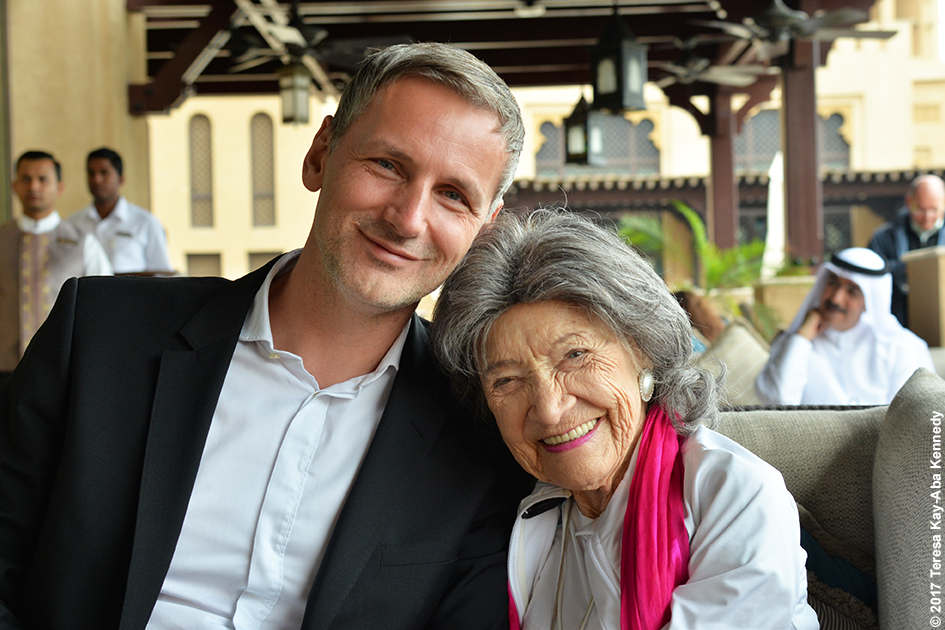 Matej Cer and 98-year-old yoga master Tao Porchon-Lynch at Mina A' Salam in Dubai for World Government Summit – February 13, 2017