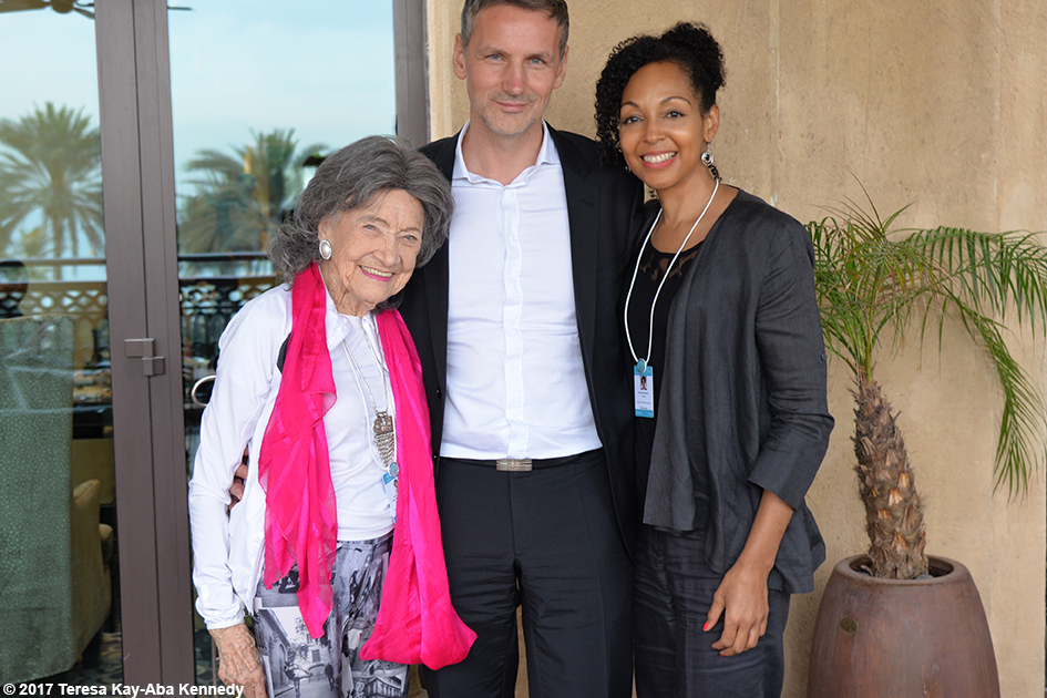 98-year-old yoga master Tao Porchon-Lynch, Matej Cer and Teresa Kay-Aba Kennedy at Mina A' Salam in Dubai for World Government Summit – February 13, 2017