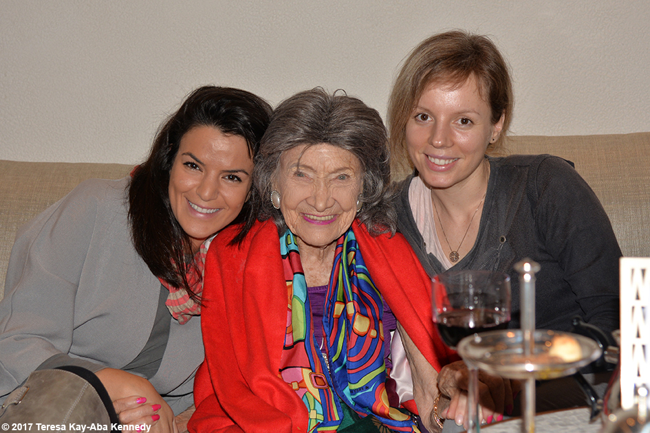 Sara Fakhouri, 98-year-old yoga master Tao Porchon-Lynch and Dovile Slavinskaite at Jumeriah Al Naseem Resort in Dubai for World Government Summit – February 12, 2017