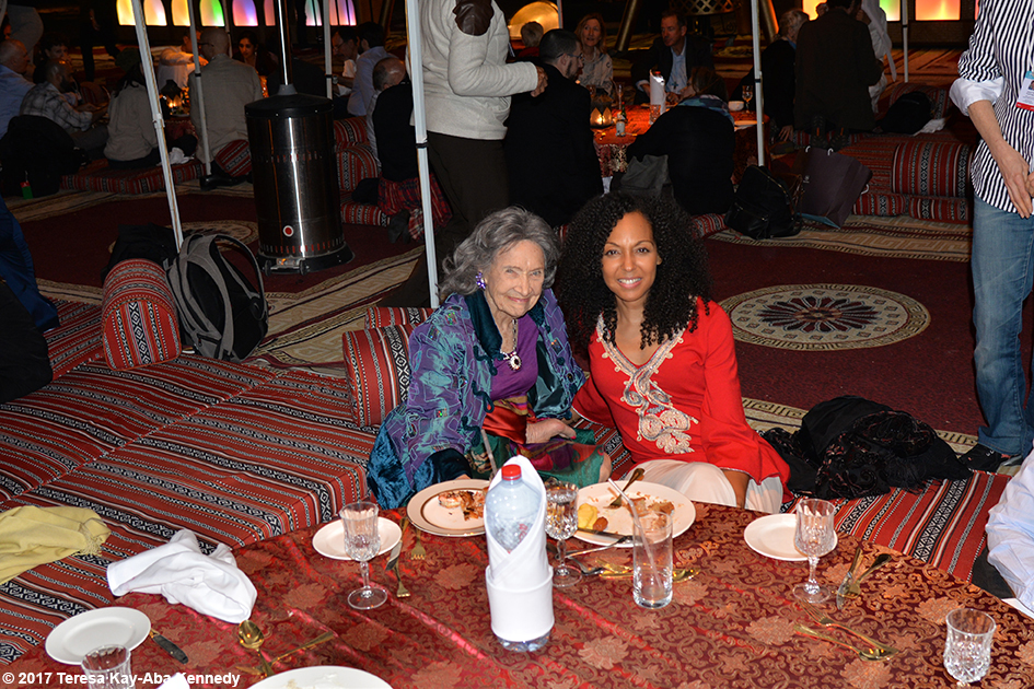 98-year-old Tao Porchon-Lynch and Teresa Kay-Aba Kennedy for dinner at Bab Al Shams Desert Resort in Dubai during World Government Summit – February 13, 2017