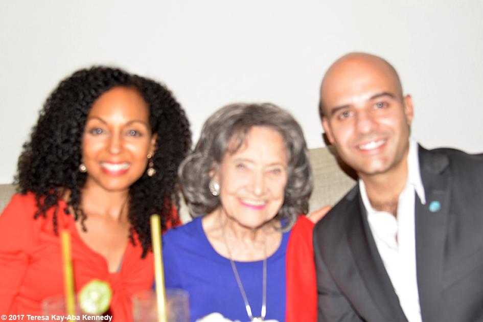 Teresa Kay-Aba Kennedy, 98-year-old yoga master Tao Porchon-Lynch and Adolfo Ayuso-Audry at Jumeriah Al Naseem in Dubai – February 14, 2017