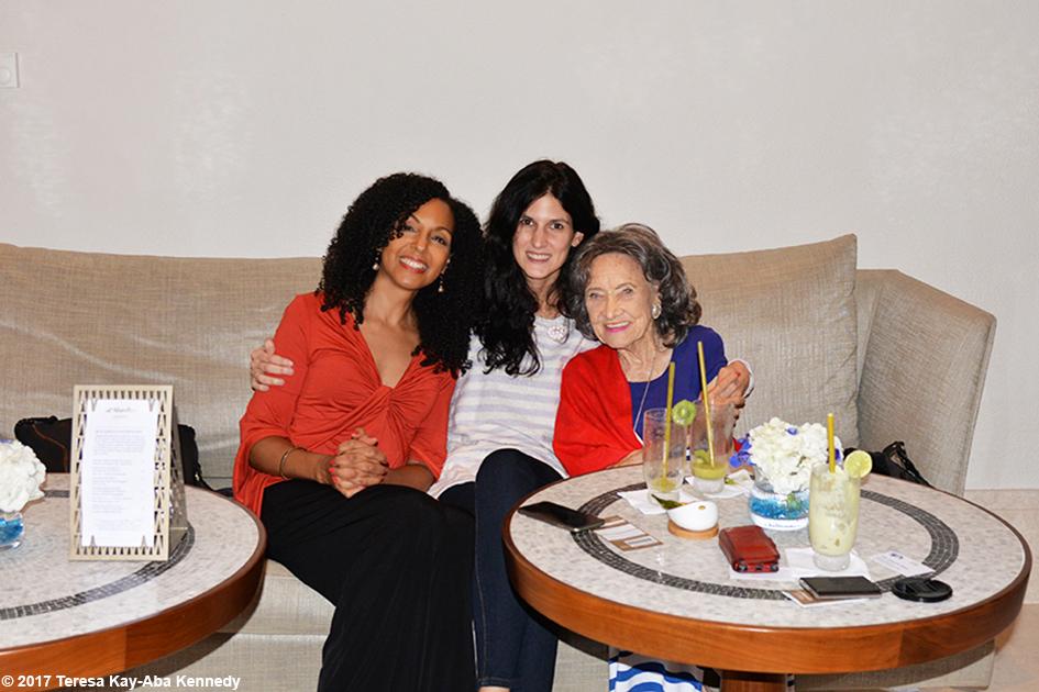 Teresa Kay-Aba Kennedy, Mina Karaiskou and 98-year-old yoga master at the Jumeriah Al Naseem Resort in Dubai – February 14, 2017