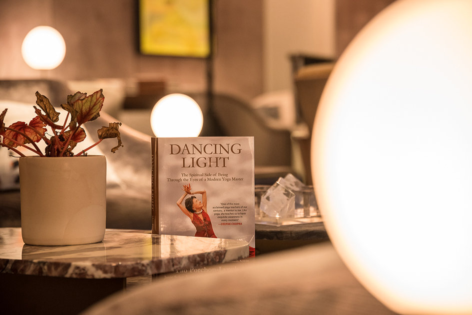 Dancing Light book displayed at The James Hotel NoMad in New York for the Conversation with a Master with 99-year-old Tao Porchon-Lynch and Teresa Kay-Aba Kennedy - October 3, 2017