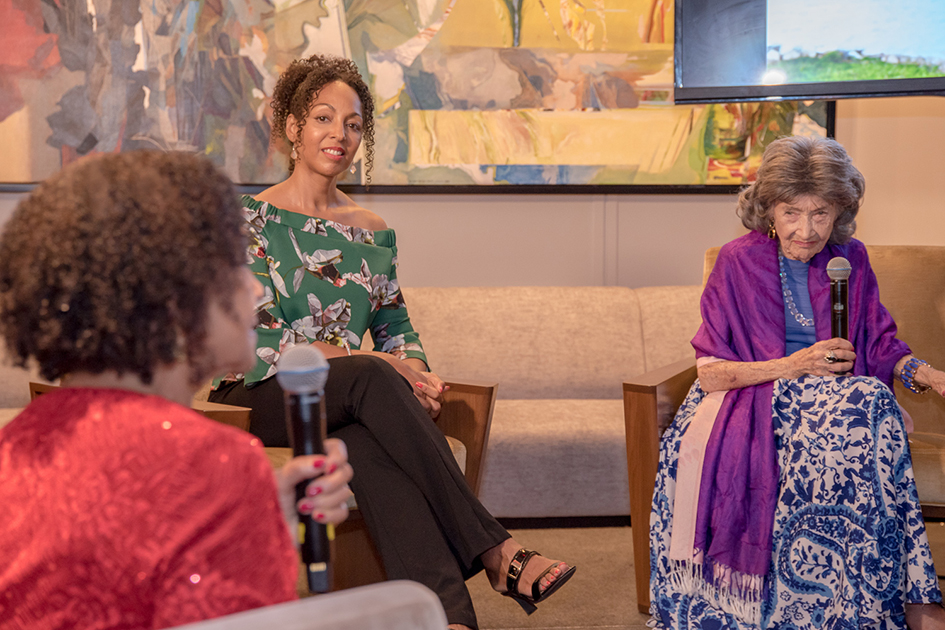 Janie Sykes-Kennedy, Teresa Kay-Aba Kennedy and 99-year-old yoga master Tao Porchon-Lynch at Conversation with a Master event at The James Hotel - October 3, 2017