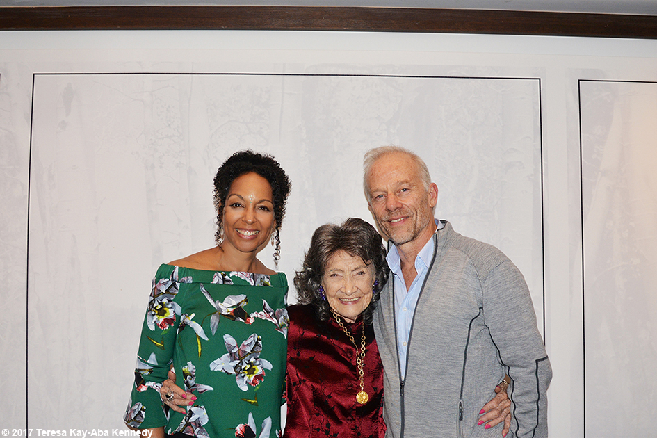 Teresa Kay-Aba Kennedy, 99-year-old yoga master Tao Porchon-Lynch and Rod Stryker at Lead With Love Conference in Aspen, Colorado - October 27, 2017