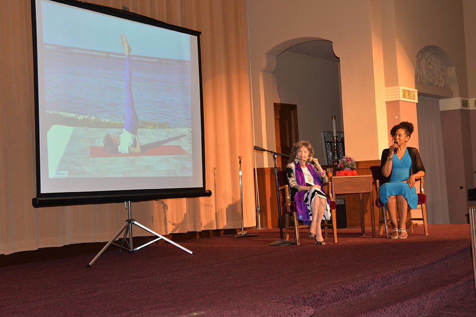 Conversation with a Master with 97-year-old yoga master Tao Porchon-Lynch and empowerment expert Teresa Kay-Aba Kennedy in Kansas City - August 28, 2015