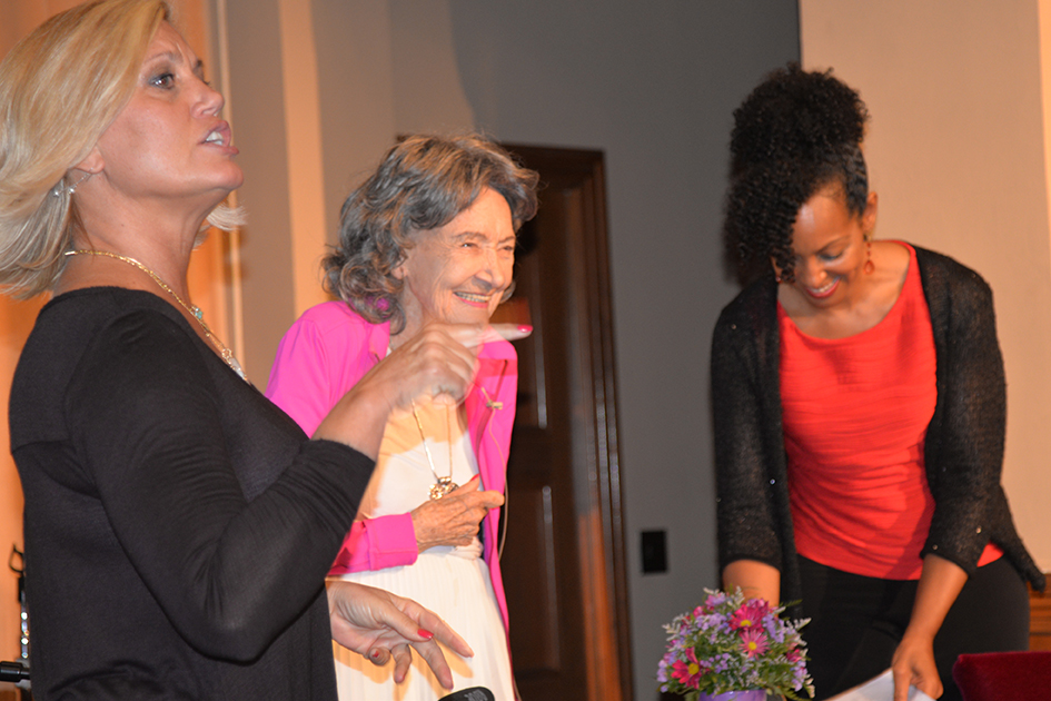 Gretchen Robinson, 97-year-old yoga master Tao Porchon-Lynch and Teresa Kay-Aba Kennedy at The Gandhi Effect workshop in Kansas City - August 29, 2015