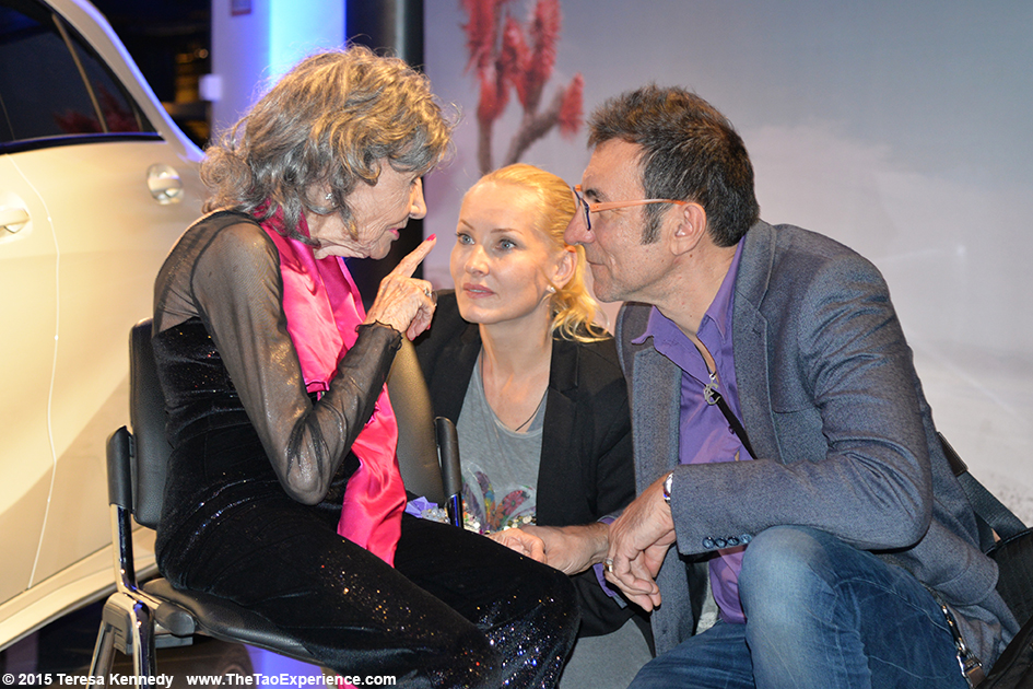 97-year-old yoga master Tao Porchon-Lynch with Branko Djuric and Tanja Ribic at Conversation with a Master event sponsored by the Young Executives Society (YES) and Mercedes in Slovenia's capital city of Ljubljana, October 8, 2015