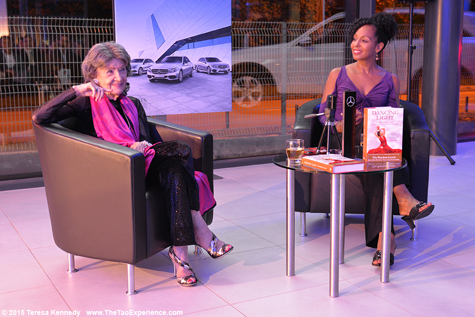 97-year-old yoga master Tao Porchon-Lynch and Teresa Kay-Aba Kennedy presenting at Young Executives Society (YES) and Mercedes event in Slovenia's capital city of Ljubljana, October 8, 2015