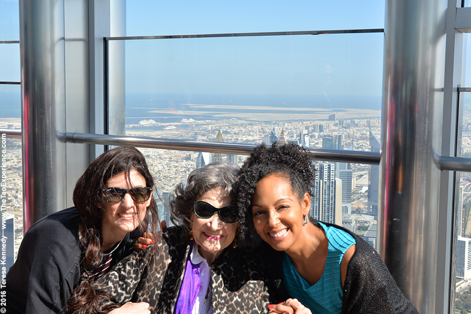 Mina Karaiskou, 97-year-old Yoga Master Tao Porchon-Lynch and Teresa Kay-Aba Kennedy on top of Burj Khalifa in Dubai – February 18, 2016